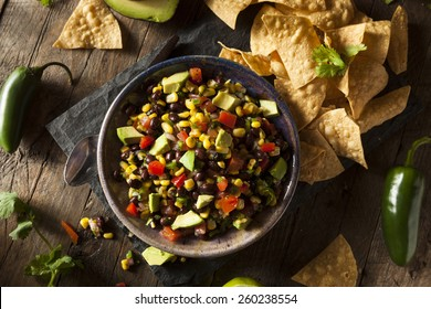Homemade Texas Caviar Been Dip with Chips