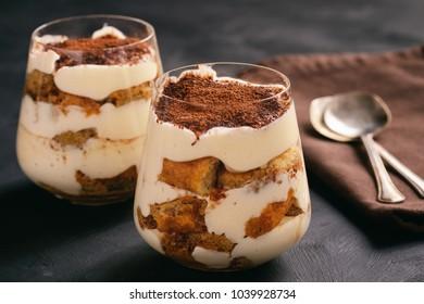 Homemade tiramisu cake, italian dessert.