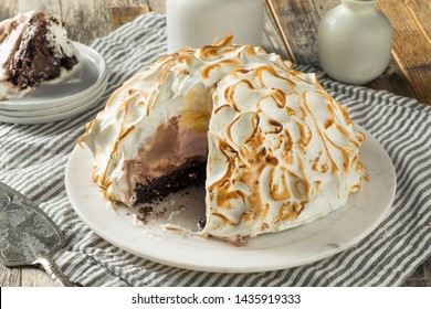 Homemade Toasted Baked Alaska with Chocolate Berry Vanilla Ice Cream