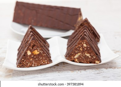 Homemade toblerone like chocolate snack