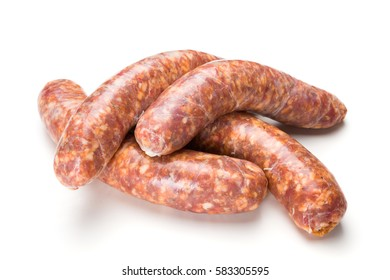 Homemade traditional thick pork sausages on white