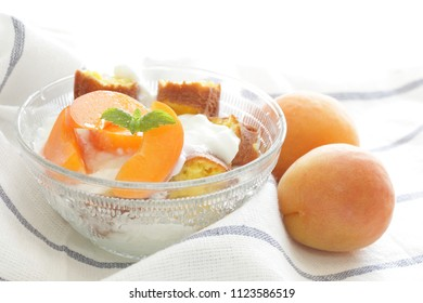 homemade trifle cake and apricot