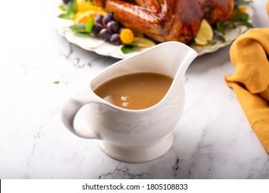 Homemade turkey gravy for Thanksgiving or Christmas dinner