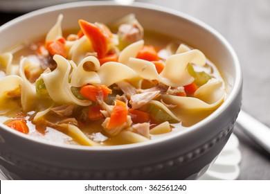 Homemade Turkey Noodle Soup close-up shot