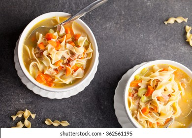 Homemade Turkey Noodle Soup top view