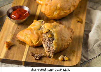 Homemade Upper MIchigan Pasty Meat Pie with Ketchup