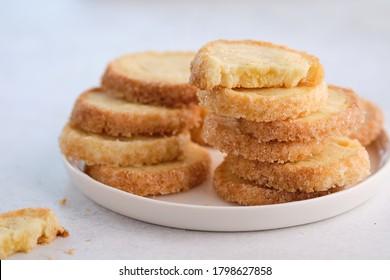 Des biscuits à la vanille faits maison. Copier l'espace. Cookies de sucre.