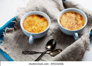 Homemade vanilla creme brulee for three