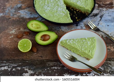Homemade vegan avocado lime coconut pie. Raw food cake