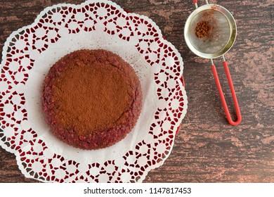 Homemade vegan beetroot chocolate cake, flat lay