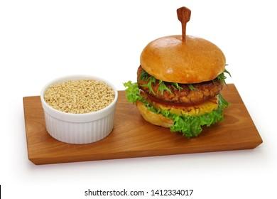 homemade vegan burger isolated on white background