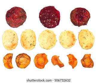 Homemade vegetable chips isolated on white