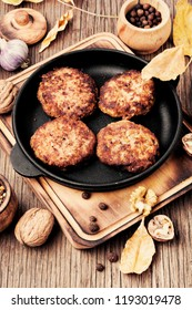 Homemade vegetable cutlets from walnut. Healthy food.