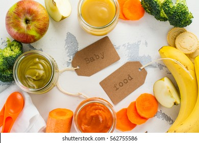 Homemade vegetable and fruit puree with ingredients on white background. Space for text