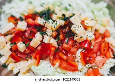 Homemade Vegetable salat background