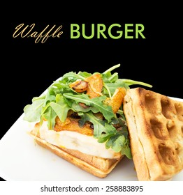 Homemade waffle burger on a white ceramic plate