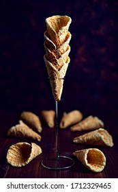 Homemade waffle cones on a dark background
