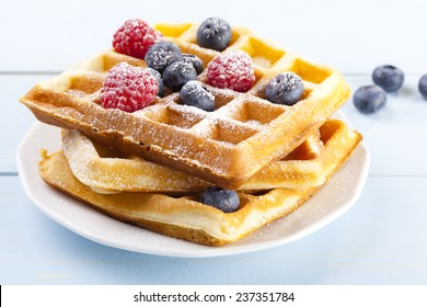 Homemade waffles with fruit and / or whipped cream