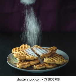 Homemade Waffles with icing sugar