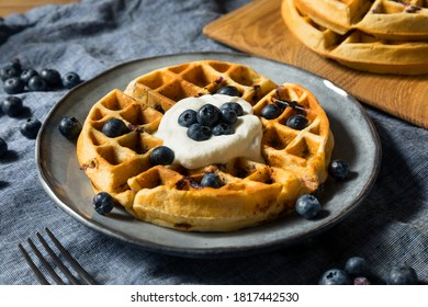 Homemade Warm Blueberry Belgian Waffles with Whipped Cream