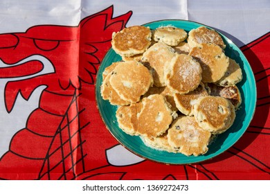 Homemade Welsh Cakes (Bakestones) with Welsh Flag in Background
