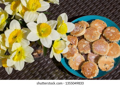 Homemade Welsh Cakes and Daffodils - Saint Davids Day Concept