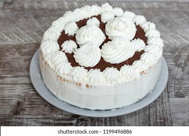 Homemade Whipped Cream and Chocolate Cake