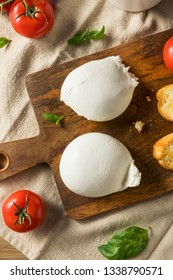 Homemade White Italian Burrata Cheese with Tomato and Basil