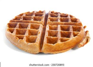 Homemade whole grain waffle on white