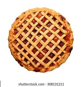 Homemade whole strawberry jam tart isolated