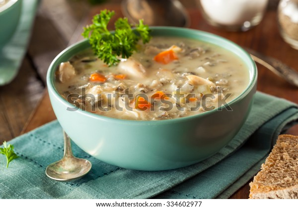 Homemade Wild Rice and Chicken Soup in a Bowl