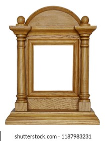 Homemade wooden rustic frame for the Christian icon of Jesus and the Virgin Mary. Isolated on white