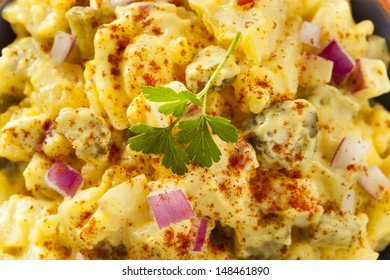 Homemade Yellow Potato Salad with Eggs and Pickles