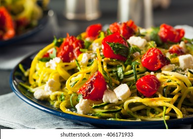 Homemade Zucchini Noodles Zoodles Pasta with Tomatos and Feta