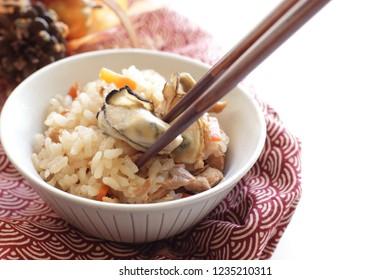 Homemde oyster rice for Japanese winter cuisine image