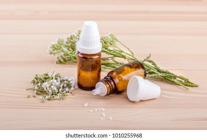Homeopathic remedy with fresh, flowering yarrow with a wooden background