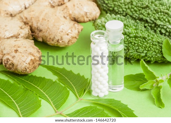 Homeopathy Concept Homeopathic Medicine Pills Liquid Stock
