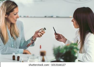 Homeopathy. Woman visiting a homeopath