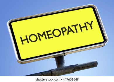 HOMEOPATHY word on roadsign with yellow background