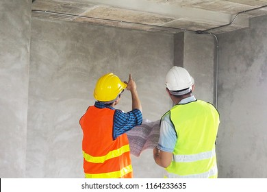 The homeowner suggests going to the point where they need to fix it. To lead the civil engineers to solve the problem. Home inspection concept
