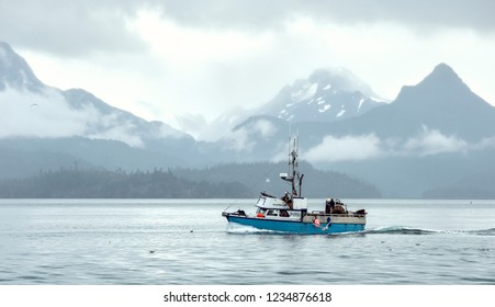 Homer, AK - Aug 23, 2018: A view of the Kachemak Bay from Homer Spit, Alaska