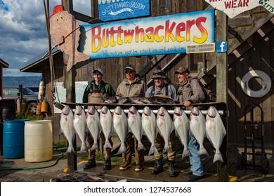 Homer, Alaska - 8/19/2014:  Halibut fishermen showing off their catch in Homer, Alaska.