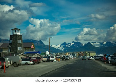 Homer, Alaska - 8/19/2014:  The main street of Homer, Alaska where it dead ends in Kachemac Bay