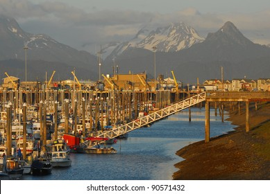 HOMER, ALASKA - JULY 15: The Homer small boat harbor on Kachemak Bay of the Kenai Peninsula of Alaska on July 15, 2011.  Homer is known by many as the Halibut fishing capital of the world.