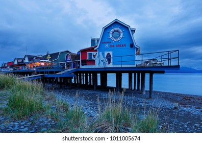 Homer, Alaska USA - August 31, 2017: Small shop at Homer Spit Alaska before sunrise. Homer is a small city on Kachemak Bay, on Alaska's Kenai Peninsula. Homer Spit is a long strip of land.