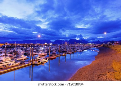 Homer, Alaska USA - August 31, 2017: Homer harbor before sunrise, Home Spit Alaska . Homer is a small city on Kachemak Bay, on Alaska's Kenai Peninsula. Homer Spit is a long strip of land.