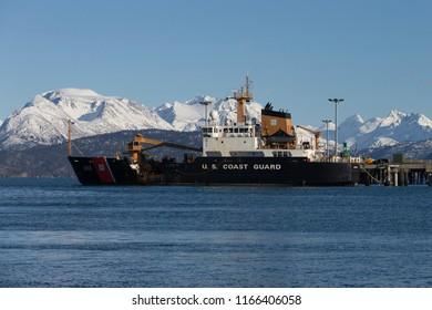 Homer, Alaska, USA - March 20, 2014: US Coast Guard Cutter sit in Homer Harbor on March 20, 2014 Homer, Alaska, USA