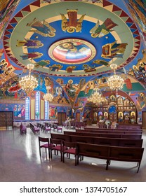 HOMER GLEN, ILLINOIS, USA - APRIL 18, 2019: Fish-eye view of the interior of the colorful Annunciation Byzantine Catholic Church in Homer Glen