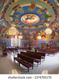 HOMER GLEN, ILLINOIS, USA - APRIL 18, 2019: Interior of the colorful Annunciation Byzantine Catholic Church in Homer Glen