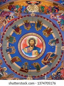 HOMER GLEN, ILLINOIS, USA - APRIL 18, 2019: Dome ceiling inside of the colorful Annunciation Byzantine Catholic Church in Homer Glen